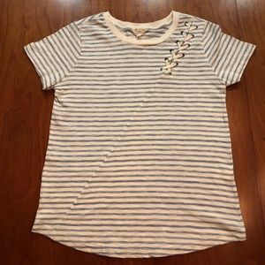 Lucky Brand Boho Striped Tied Tee